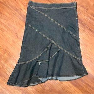 Bisou Bisou Asymmetrical Blue Skirt with Ruffles.